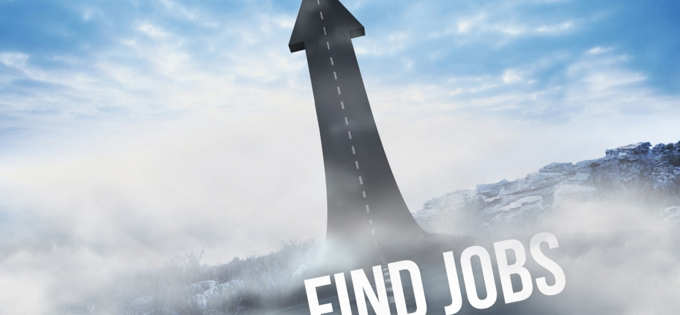 The word find jobs against road turning into arrow